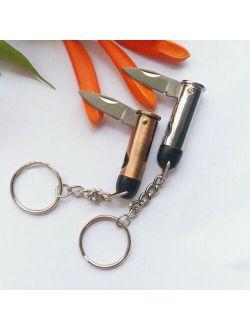 Bullet Shape Mini Pocket Folding Stainless Steel Keychain Knife Pendant Portable