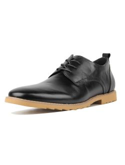 OUTDOOWALS Mens Black Slip Resistant Dress Shoes Solid Wingtip Oxford Shoes Leather Brogue Shoes Black Size 13