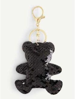 Teddy Bear Sequin Keychain
