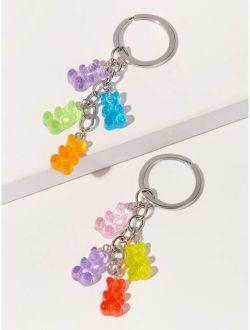 1pc Random Color Resin Charm Teddy Bear Keychain