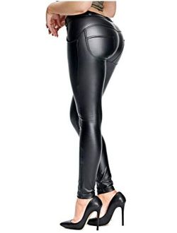 RIOJOY Womens Sexy Faux Leather Leggings Skinny PU Pants Stretchy Butt Lift Push Up Tights