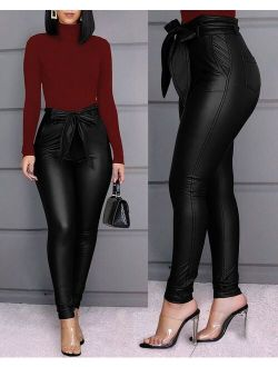 Women's High Waist Pu Faux Leather Sexy Pants Tied Front Paperbag Leggings Skinny Trousers