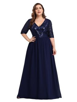 Women's Elegant Plus Size Long Formal Evening Special Occasion Dresses 07992 Navy Blue Us22