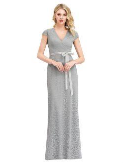 Women's V-neck Cap Sleeve Bow Sash Floral Lace Evening Dress 00862 Grey Us4