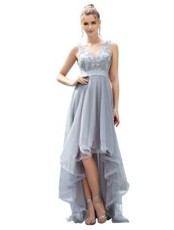Women's V-neck Sleeveless Appliques High Low Gowns Evening Dress 00793 Grey Us4
