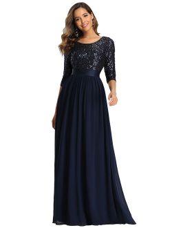 Women's V-neck Sequin Maxi Dress Long Evening Dress 00683 Navy Blue Us4