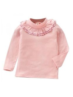 Kids Girls Long Sleeve Soft Casual Ruffle Neck Solid T-Shirt Tops Clothes