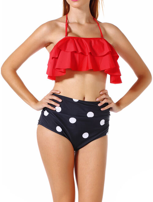 Lelinta 2018 Fashion Women's Sexy Two-Piece Swimwear Women High Waist Triangle Bikini Set Bandage Push-Up Padded Swimsuit Bathing High Quality