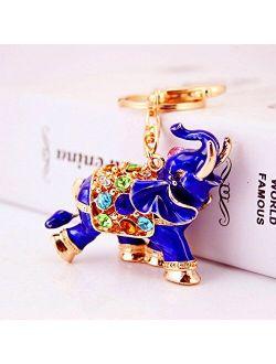 3D Luxury Elephant Keychain Sparkling Keyring Crystal Rhinestones Purse Pendant Handbag Charm