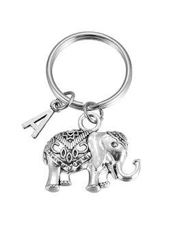 Initial Elephant Keychain Charm Large Lucky Elephant Keyring Elephant Lover Accessory Strength for Girls Women