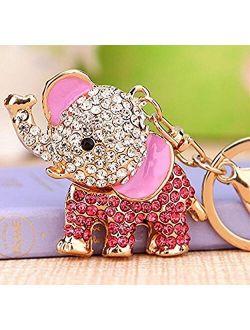 Cute Big Standing Elephant Keychain Sparkling Keyring Crystal Purse Pendant Rhinestones Handbag Charm
