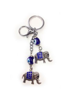 Lucky Elephant Keychain Blue Key Ring Chain Gift Evil Eye Charm Purse Bag Amulet
