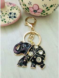 Key charm bag accessories-enamel lucky  rhinestone elephant keychain purse charms