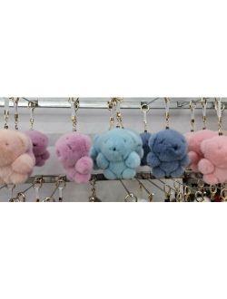 Mini 9cm Real Mink Fur Bag Charm Pendant Car Teddy Bear Keychain Fur Doll Toy Gift