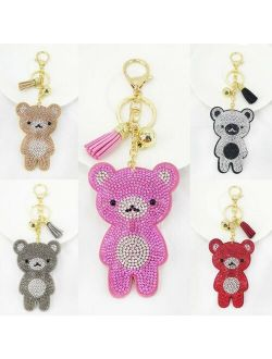Cute Sparkling Shape Bag Charm Teddy Bear Keychain Car Keychain