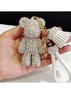 TISHAA Bling Cute Car Teddy Bear Keychain Keyring Key Fob Accessory Pendant (White)