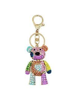 Women Girl Crystal Rhinestone Keychain Sparkling Key Ring Charm Purse Pendant Handbag Bag Decoration Teddy Bear Keychain