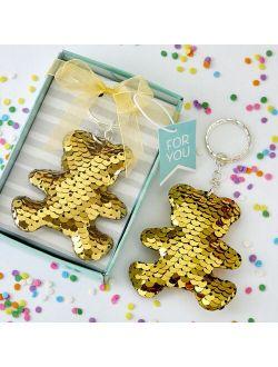 Gold silver sequin teddy bear keychain