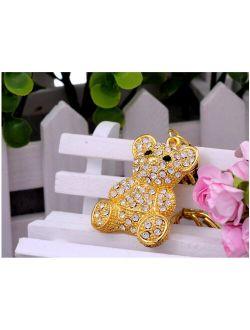 Gold Tone Iced Bling Crystal Rhinestone Cuddle Hook Clip Teddy Bear Keychain