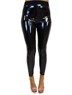 Woshilaocai Faux Leather Leggings Sexy Pants Stretchy High Waisted Tights