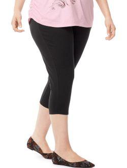 Women's Plus Size Stretch Jersey Capri Legging