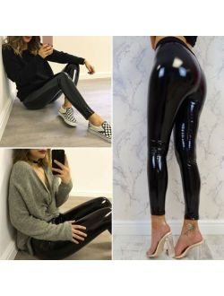 Women´s Shiny Leather Long Sexy Pants High Waist Skinny Disco Vinyl Pencil Legging Trousers