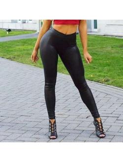 MIARHB Women's Leather Bottom Pants Coloured Hip-up Bomb Slim Sexy Pants