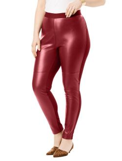 Roaman's Women's Plus Size Faux-Leather Legging Vegan Leather Stretch Sexy Pants