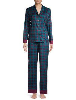 C. Wonder Women's and Women's Plus Notch Collar Pajama Set, 2-Piece