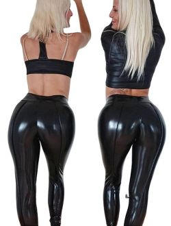 Women Wet Look Butt Lift Pants PVC Leather Skinny Leggings Stretch Sexy Trousers