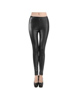 Inverlee Womens Plus Size Solid Casual Trousers Leather Sexy Tight Leggings Pants