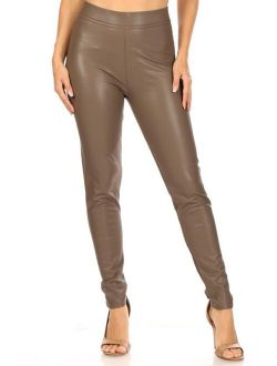 Moa Collection Women's Casual Faux Leather Comfy High Waist Sexy Soild Fashion Leggings Pants