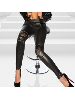 MIARHB Women Fashion High Elasticity Zippers Sexy Leggings Gym Active Leather Pants
