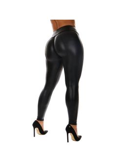 wsevypo Wsevypo Women's High Waisted PU Leather Sexy Stretchy Skinny Long Pencil Pants