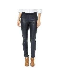 NYDJ Womens Black Knit Faux Leather Pull On Sexy Casual Pants