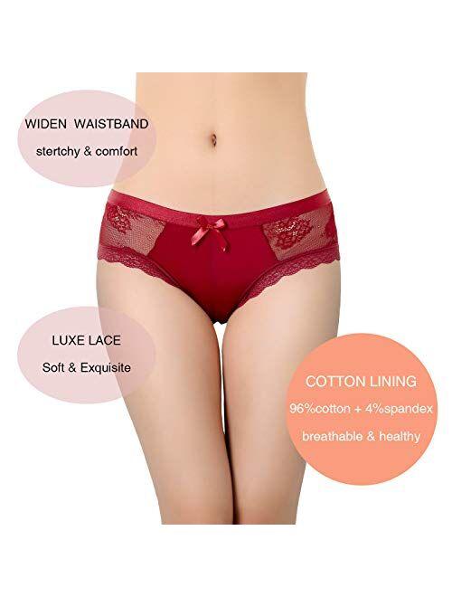 LEVAO Womens Bikini Panties Underwear Lace Hipster Seamless Sexy Hi Cuts Pack 6