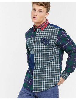 Oliver Pieced Long Sleeve Shirt In Navy