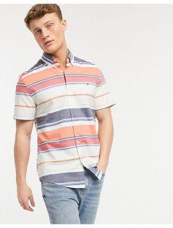 Striped Short Sleeve Shirt In White Pink Orange