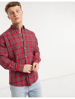 Dylan Tartan Plaid Long Sleeve Shirt In Red