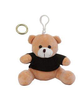SANFERGE Cute Plush Stuffed Backpack Clip Toy Teddy Bear Keychain, Animal Handbag Charm Pendant for Girls Women