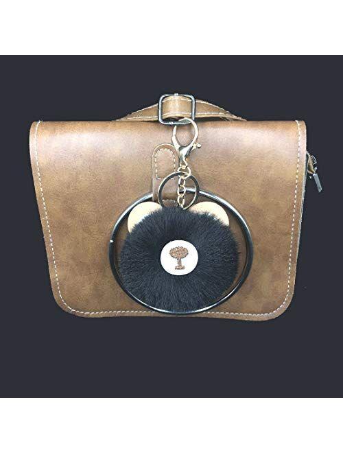 Women's Cute Puffball Teddy Bear keychain Faux Fur Ball Pom Pom Handbag Purse Plush Holder Keyring