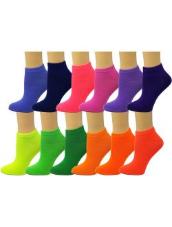 Debra Weitzner Womens Low-Cut Ankle Socks No-Show Colorful Pattern Fun Socks 12 Pair