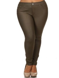 Women's Plus Size Solid Casual Comfort Lightweight Stretchy Jean Pocket Jeggings Pants