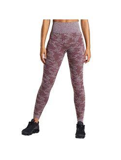 WodoWei Womens High Waisted Camo Seamless Leggings 7/8 Length Workout Yoga Pants