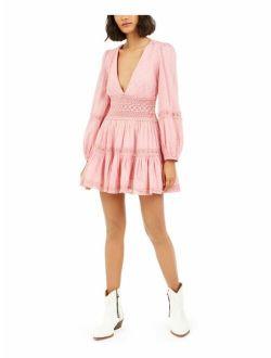 Womens Pink Long Sleeve V Neck Mini Fit + Flare Dress Size: 0