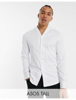 Tall Slim Fit Sateen Shirt With Shawl Collar In White