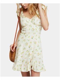 $108 Womens New 0659 Beige Printed V Neck Mini Casual Dress S B+b