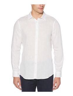 | Bright White Roll-sleeve Linen Button-up - Men