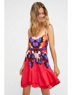 Free People Sweet Lucy Slip Mini Dress Printed Embroidered S 211768