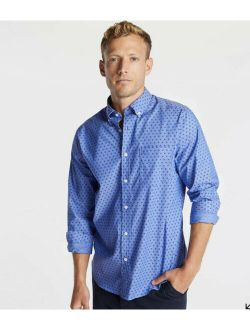 Mens Classic Fit Wrinkle Resistant Shirt Mini Print Blue Xl